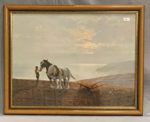 Coulson framed print 'Ploughing' 54 x 75cm