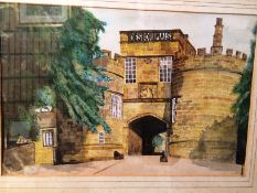 J LOWSON '76' framed watercolour of castle entrance 32 x 48cm signed to margin