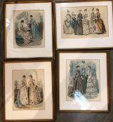 Four framed Parisian fashion prints - three x 27 x 20cm and one 21 x 31cm