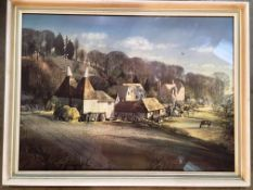 Rowland Hilder framed print Farmhouse with tree and hills in the background 47 x 64cm