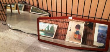 Shaped wall mirror 45 x 69cm and a wall mirror on teak frame 36 x 76cm