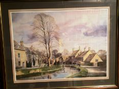 Alan Ingham large framed print 'Spring in the Cotswolds - Lower Slaughter,