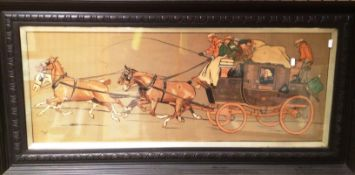 Cecil Aldin large coaching print in ebonised frame 40 x 100cm
