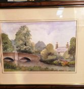 Irene G Tomlinson framed watercolour 'Ashford in the water' 23 x 33cm signed and dated 1995