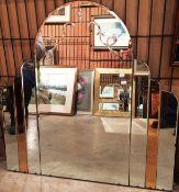 An arch top Art Deco style wall mirror 92cm max x 91cm max