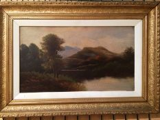 Pair gilt framed oils river scenes each 27 x 45cm unsigned