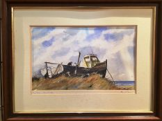Framed watercolour (glass missing) 'Dry Dock - Isle of Sheppy' 28 x 45cm indistinct signature