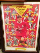 A framed sporting print 'Liverpool - Legends of Anfield' 58 x 40cm