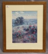 Rex Preston framed Ltd Edition print 'Hillside Poppies' 46 x 35cm signed and No.