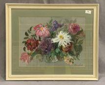 Jean Starkie framed watercolour 'Still Life - Flowers' 34 x 44cm signed bottom right hand corner