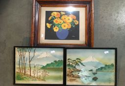 Walnut framed print 'Still Life' and two small framed oriental pictures (3)