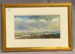 TOM KEATING after John Constable a framed oil painting 'Dedham Vale' 16 x 30cm with a certificate