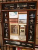Framed wall mirror flanked by a display of various knots 60 x 45cm crack to glass bottom right
