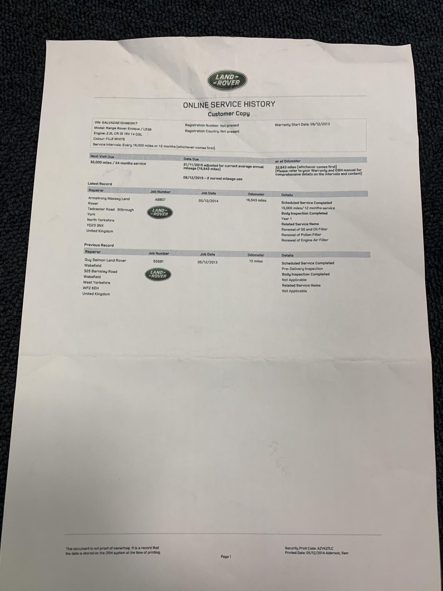 ON INSTRUCTIONS RE: A DECEASED ESTATE - LANDROVER RANGE ROVER EVOQUE PURE T 2. - Image 13 of 22