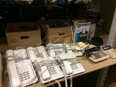 6 x Panasonic KX-T7750 telephones and one other, 3 x assorted printing calculators,