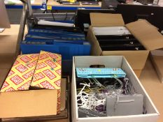 Contents to five boxes - assorted ring binders, gift bags,