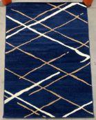 Kayoom Vancouver modern short pile rug, blue, beige and white,