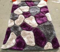Think Rugs hand tufted shaggy rug, grey and purple,