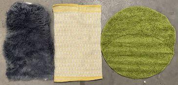 Three rugs - Vimoda Prime Shaggy circular rug, green, 80cm; Sehrazat Kunstfell rug, grey,