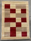 Matrix rug, beige and red,