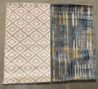 Two rugs - Ayyildiz Plus rug, pink, 80cm x 150cm and Kukoon Bombay Dash rug, teal/ochre,