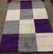 Paco Home rug, purple, grey and cream squares,
