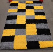 Oxford shaggy rug, black, grey and yellow,