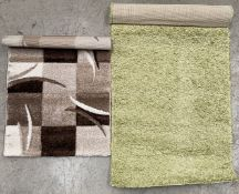 A Paco Home Twister 500 green rug - 70cm x 140cm and a Paco Home Diamant SV 665 brown rug - 60cm x