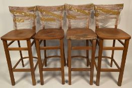 4 x Espresso high back wooden bar stools (Some appear to be water damaged)