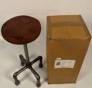 2 x Milner iron/leather high stools Further Information Height from 70cm-100cm