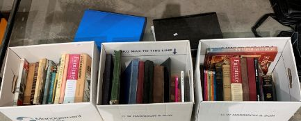 Contents to three boxes, various books on furniture, woodworking and metalwork,