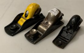 Three small metal block planes, two by Stanley and one No.