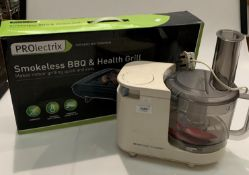Prolectrix smokeless BBQ and Health Grill (boxed) and a Kenwood Gourmet table top blender (2)