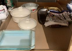 Contents to tray - Pyrex and other dishes,