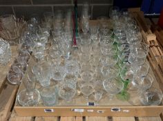 Contents to tray - a large quantity of assorted glasses - wines, spirits,