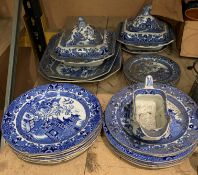 Twenty-four pieces of Burleigh ware willow pattern tableware
