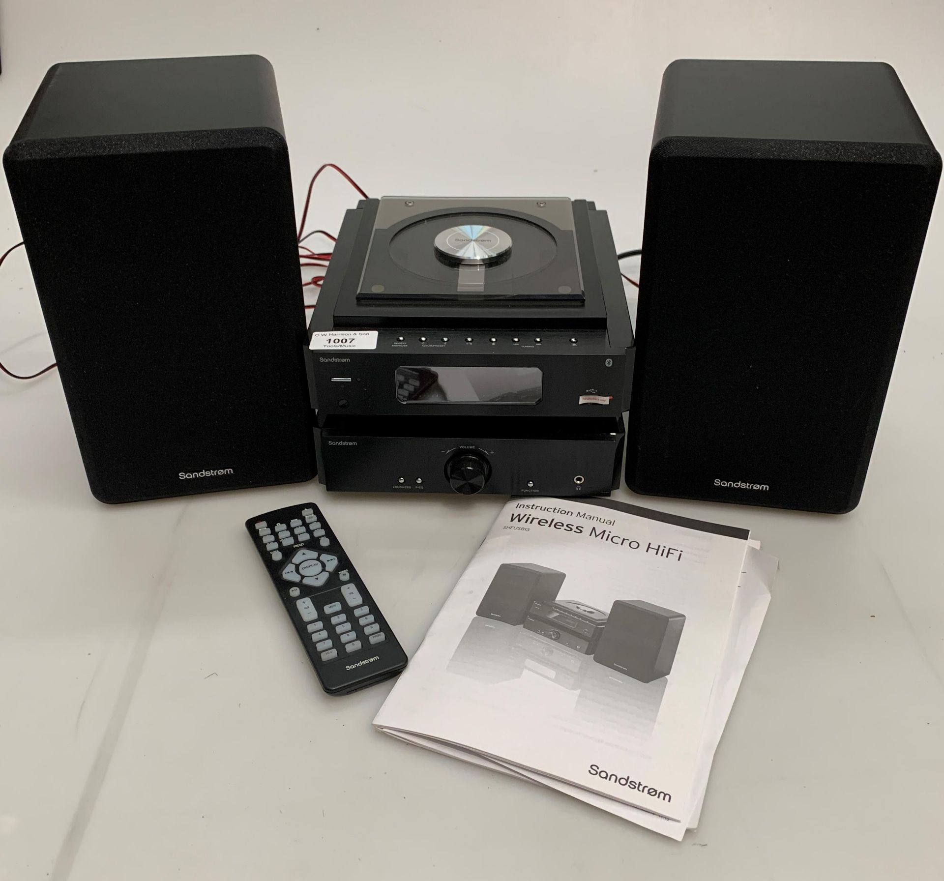 A Sandstrom SHFUSBIB wireless micro HiFi system complete with two speakers,