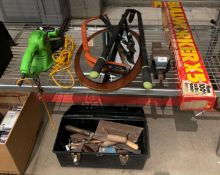 Contents to part of shelf - a Bullworker (boxed), teak framed wall mirror, 240v hedge trimmer,