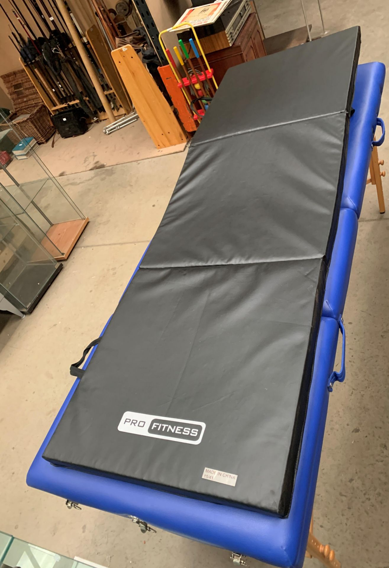 A Healthline Massage Products folding massage bench upholstered in blue PVC complete with carry bag, - Image 6 of 8