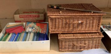 Two wicker baskets and contents - one with fireside accessories and contents to box,