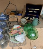 Contents to part of rack - plated fish knives and forks in a canteen, glass dressing table sets,