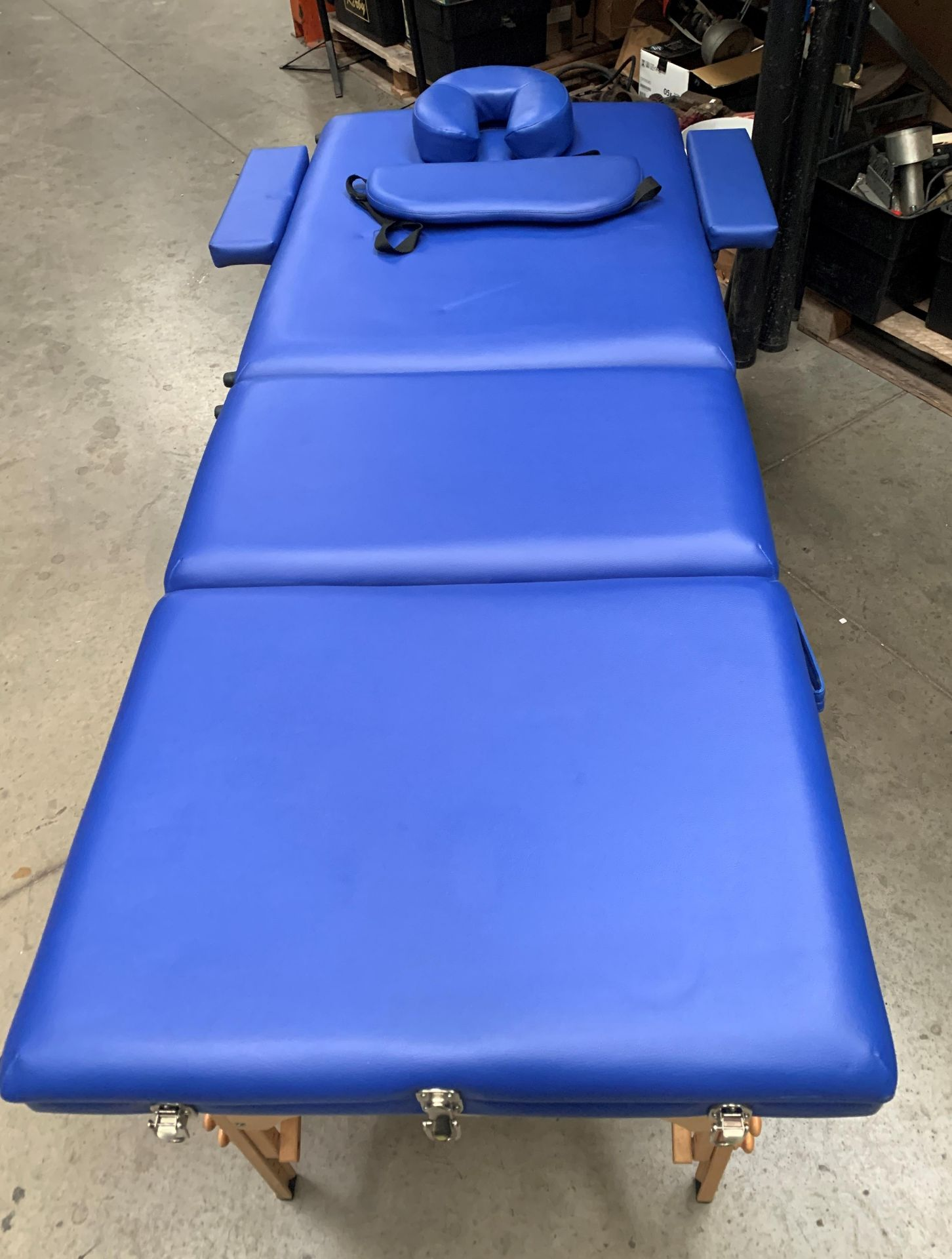 A Healthline Massage Products folding massage bench upholstered in blue PVC complete with carry bag, - Image 3 of 8