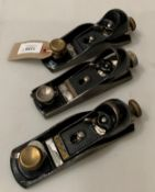 Three metal block planes,
