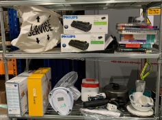 Contents to two shelves - oscillating fan, kitchenware, Brita water filter,