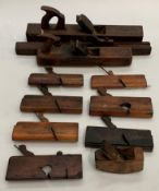 Eleven various wood block and rebate planes, one stamped A Mathison & Son,