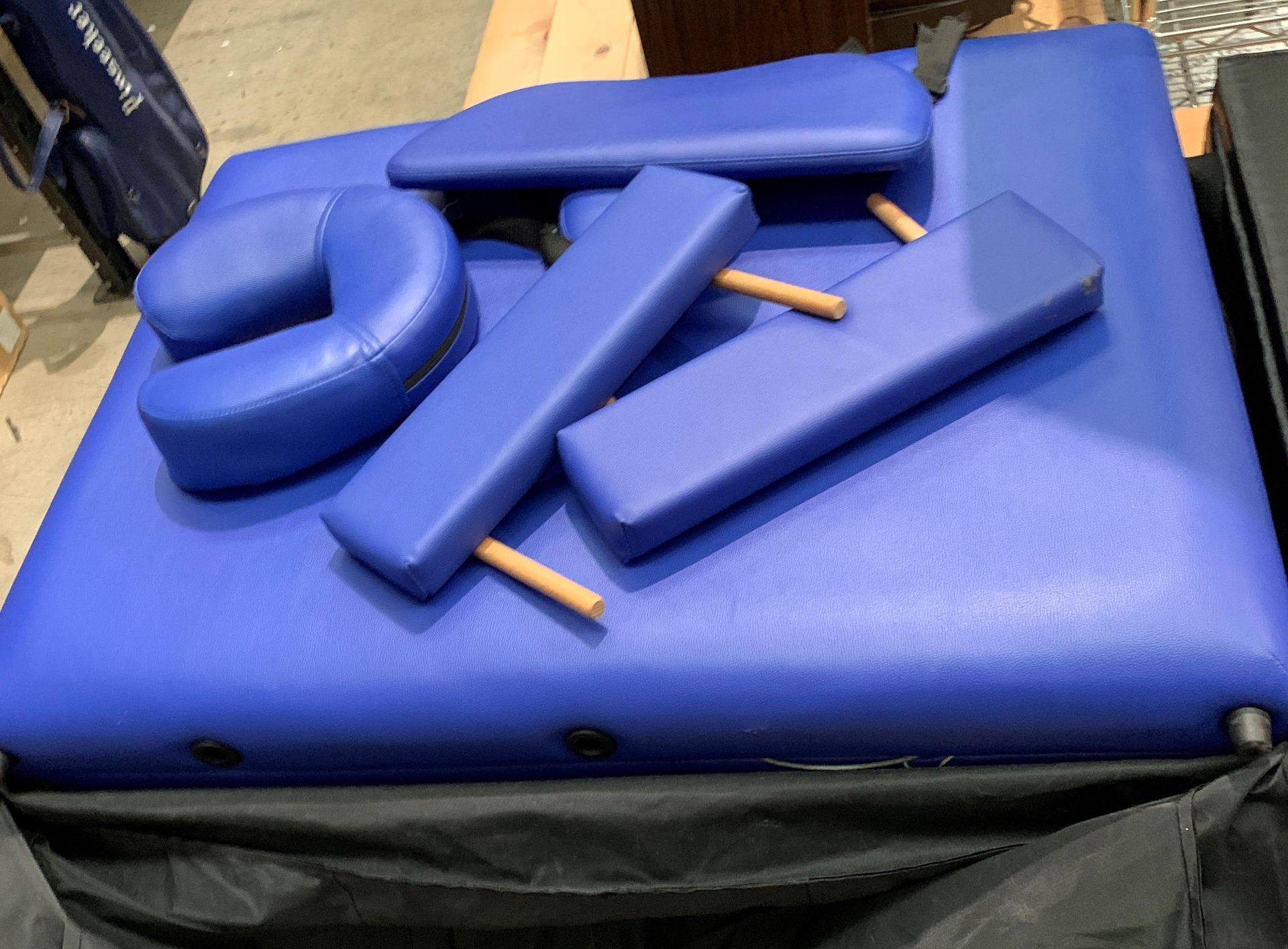A Healthline Massage Products folding massage bench upholstered in blue PVC complete with carry bag, - Image 2 of 8