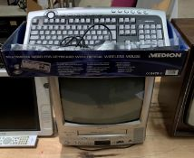"A Grundy TVR3725FTGB portable 14"" TV/VHS video player and a Medion Multimedia wireless keyboard (2)"