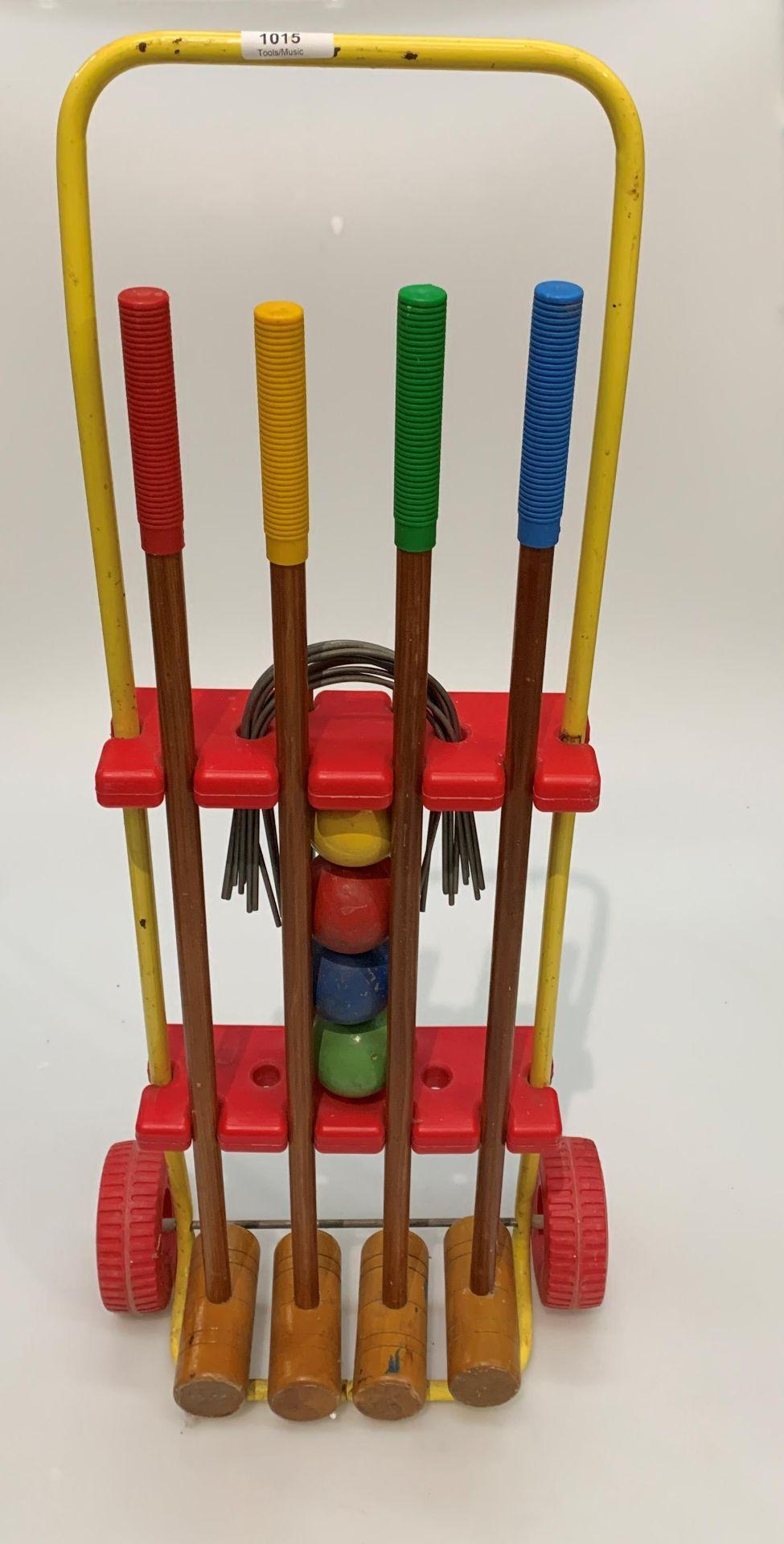 A child's portable croquet set
