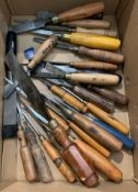 Twenty four assorted chisels and gougers, makes include G Hill Sheffield,