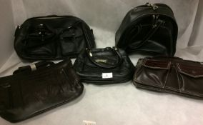 5 x assorted handbags on black and brown